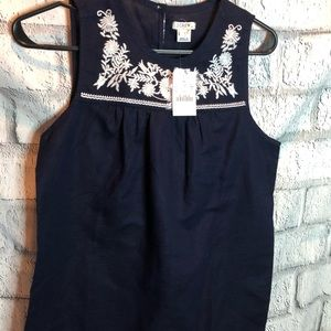 J Crew navy and white embroidered top. NWT